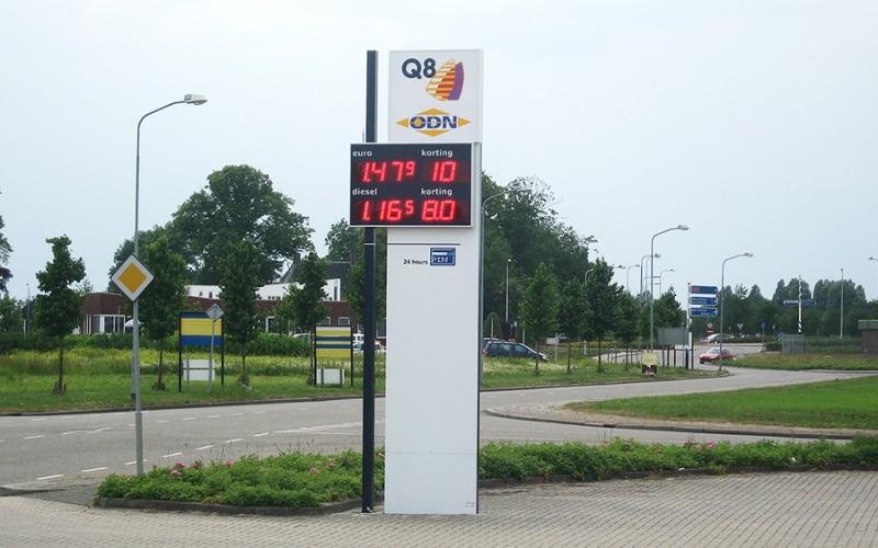 LED display Q8 met brandstofprijzen / korting